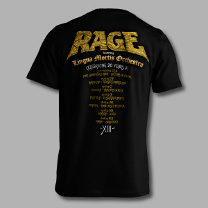 Official Rage XIII 20th anniversary tour shirt - back